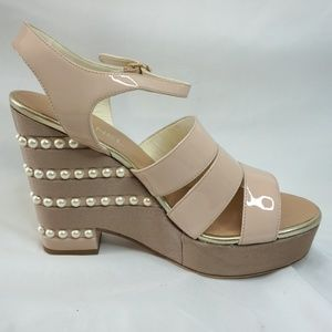 Chanel Nude Patent Leather Wedge Strappy Sandals
